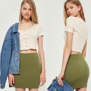 TOPSHOP Olive Green Textured Pull On Mini Skirt